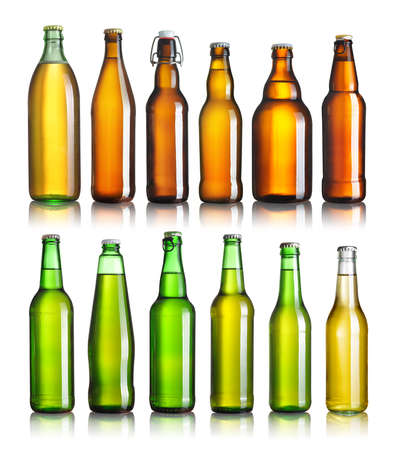 Set of full beer bottles with no labels isolated on white Archivio Fotografico