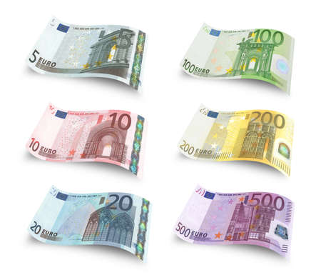 Collection of euro banknotes. Isolated over white Archivio Fotografico