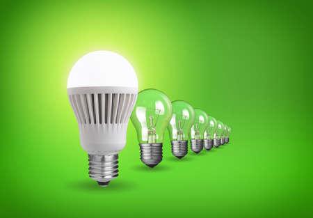Idee concept met led lamp en wolframbollen Stockfoto