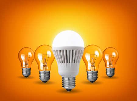 Idea concept with light bulbs photo