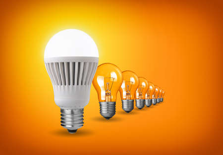 led lamp: Idea concept with led bulb and tungsten bulbs