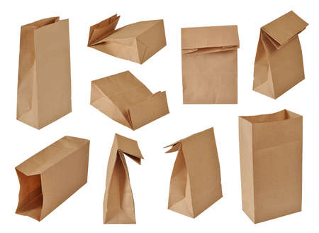 collection of brown paper bags. Isolated on white Archivio Fotografico