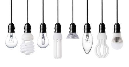 Set of different light bulbs isolated on white