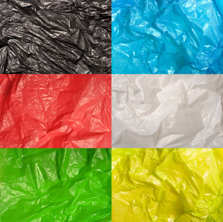 collection of various plastic bags textures Stock Photo