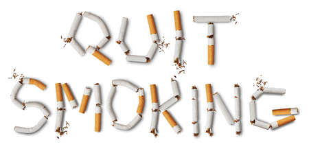 anti tobacco: Text quit smoking made from broken cigarettes