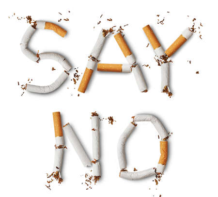 Text say no made from broken cigarettes photo