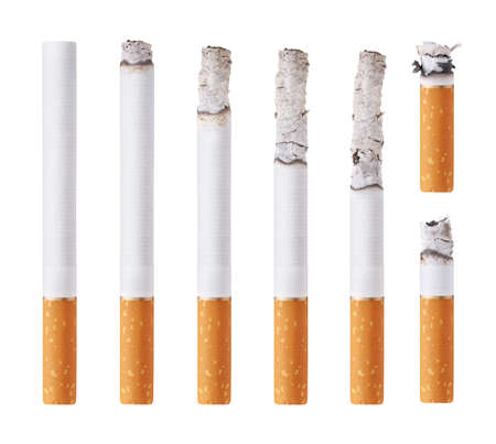 cigarette smoke: Cigarettes during different stages of burn. Isolated on white