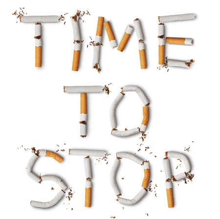 Text time to stop made from broken cigarettes