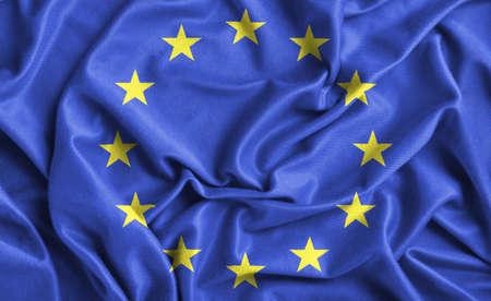 europe: Closeup of ruffled Europe flag