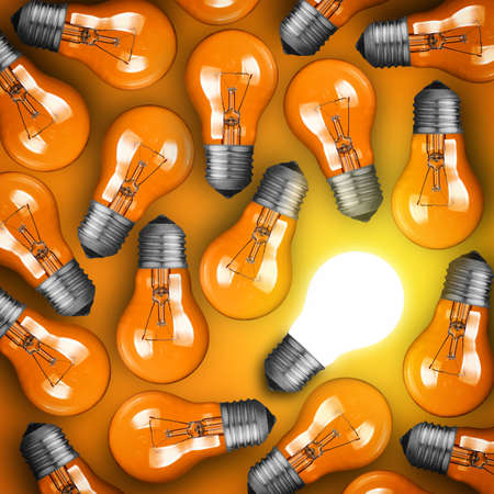 glowing light bulb: Idea concept with row of light bulbs and glowing bulb Stock Photo