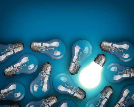 enchufe de luz: Concepto de la idea con bombillas de luz sobre fondo azul