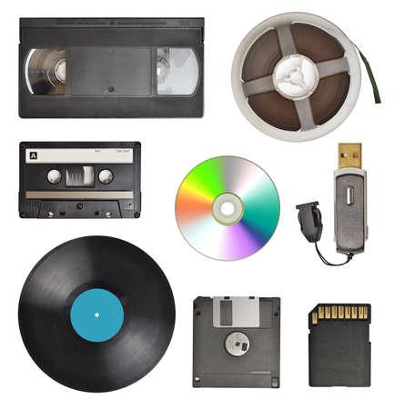 Varietà di dispositivo di memorizzazione isolato su sfondo bianco Archivio Fotografico - 29655438