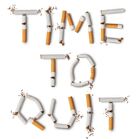 anti tobacco: Text time to quit made from broken cigarettes