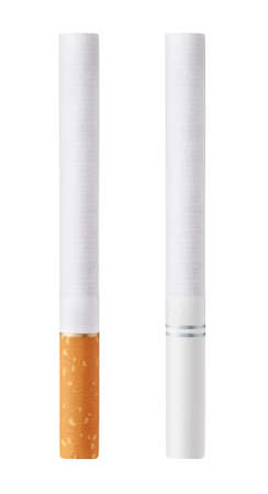 Isolated on white background cigarettes with orange and white filters photo
