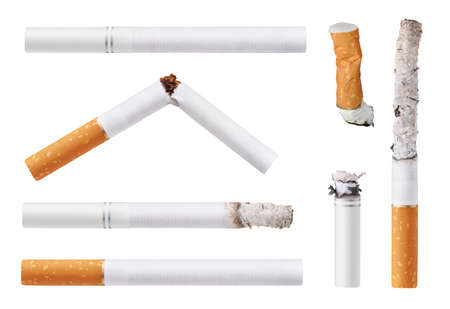 Set of cigarettes. Isolated on white background photo