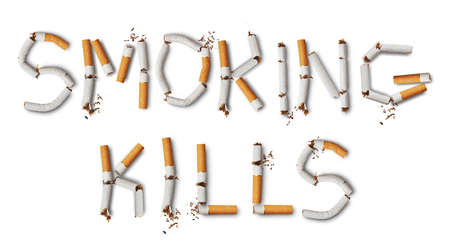 heart disease: Text smoking kills made from broken cigarettes