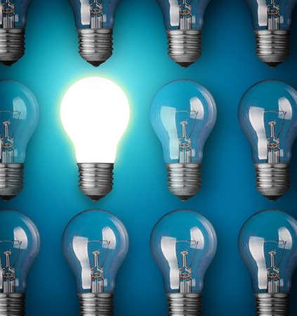 power point: Idea concept with light bulbs on blue background