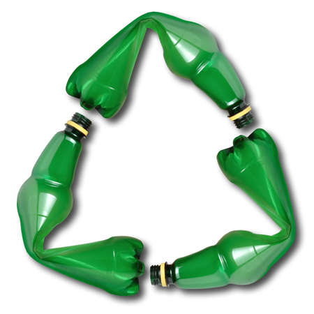 plastic made: Recycle symbol made of used plastic bottles
