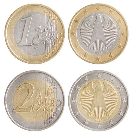 Coins of 1 and 2 Euro - European Union money. Obverse and reverse  스톡 콘텐츠