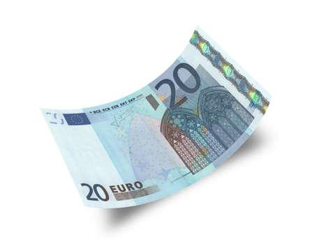 20 euro: twenty euro banknote isolated on white background
