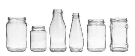 set of empty jar isolated on white background  스톡 콘텐츠