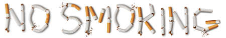 abstain: Text no smoking made from broken cigarettes