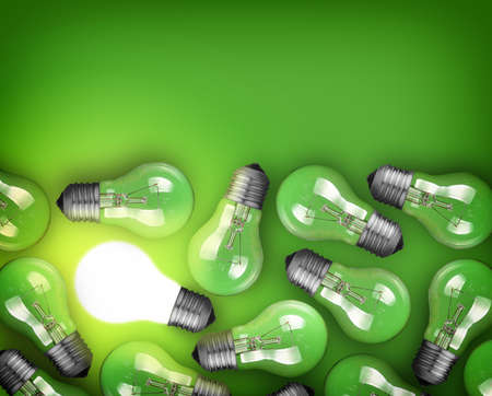 creativity: Idea concept with row of light bulbs and glowing bulb Stock Photo