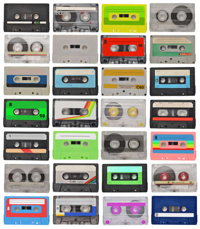 cassette tape: collection of retro cassette tapes isolated on white