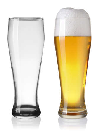 Empty and full beer in glass isolated on white backgroung Stock Photo
