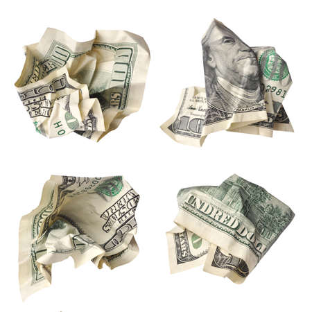 Collection of crushed one hundred dollar bills isolated on white Banco de Imagens - 32692242