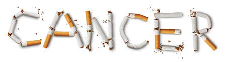 Text cancer made from broken cigarettes