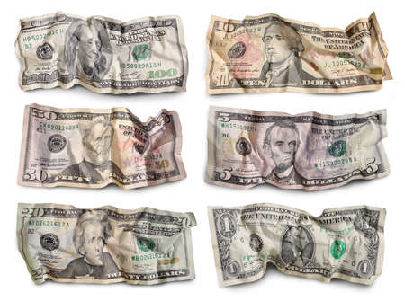 50 dollar bill: Set of crumpled dollar bills against white background