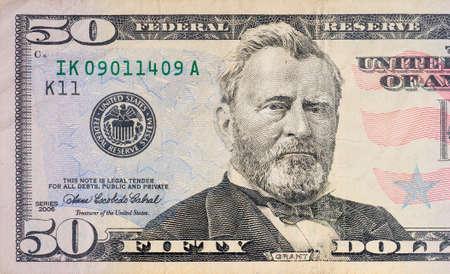 factura: Macro foto de una de 50 dólares
