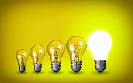 enchufe de luz: Fila de luz concepto bulbs.Idea sobre fondo amarillo.