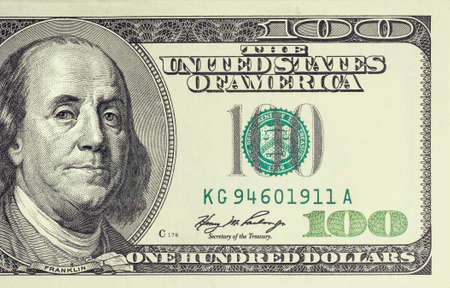 federal reserve: Macro shot of a 100 dollar Stock Photo