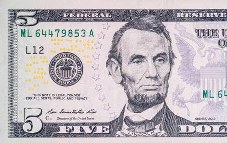 five dollars: Macro shot of 5 dollar bill