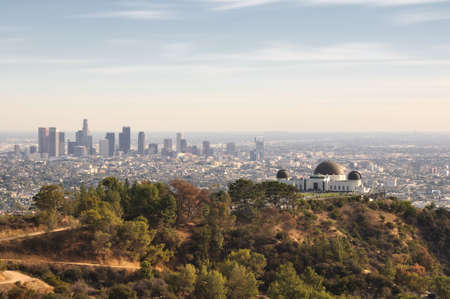 USA downtown skyline from Griffith Park in Los Angeles, California 스톡 콘텐츠