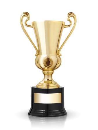 primer lugar: trofeo de copa de oro aislados sobre fondo blanco