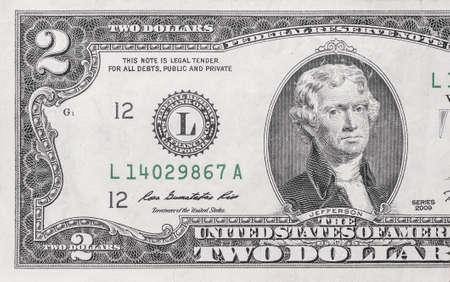 two dollar bill: Macro shot of 2 dollar bill Stock Photo