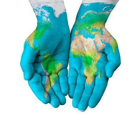 Map geschilderd op handen geïsoleerd op witte achtergrond