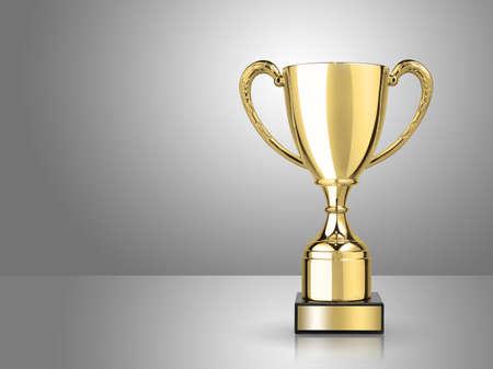kampioen gouden trofee op een grijze achtergrond