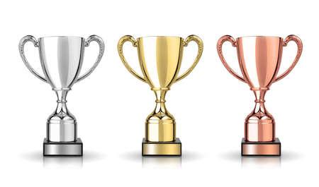 gouden, zilveren en bronzen trofeeën op een witte achtergrond