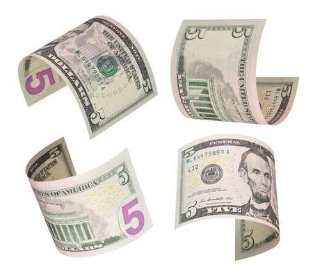 dollaro: Set di volare cinque dollari di fatture. Isolati su bianco