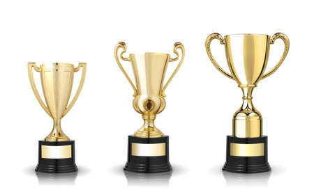 background trophy: Three different kind of golden trophies. Isolated on white background