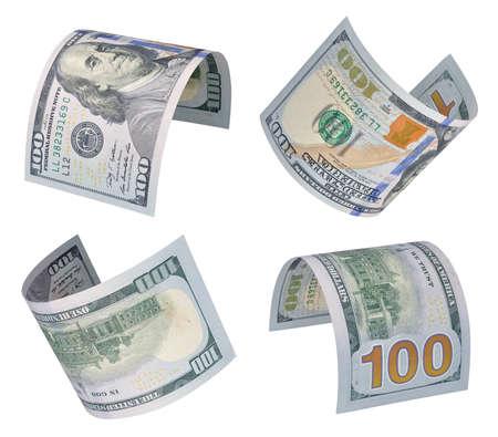 Set of flying one hundred dollars bills. Isolated on white 版權商用圖片