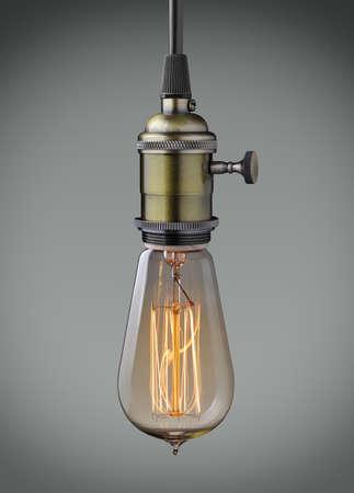 Vintage lampada a sospensione lampadina su sfondo grigio Archivio Fotografico - 35406688