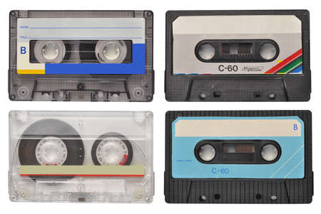 cassette tape: Four retro cassette tapes isolated on white Stock Photo