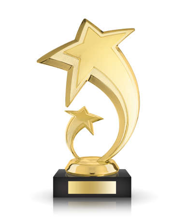 award trophy: Golden award star isolated on the white background