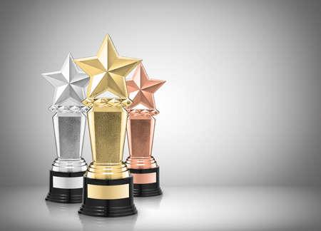 Star Awards op een grijze achtergrond Stockfoto