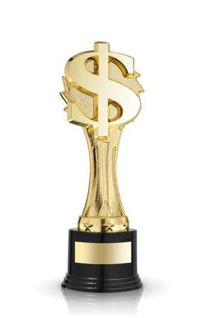 signo pesos: d�lar de oro signo trofeo aislados en blanco Foto de archivo